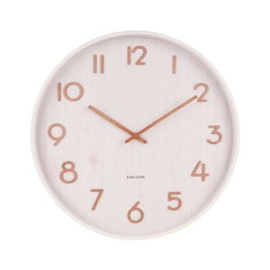 Biele nástenné hodiny z lipového dreva Karlsson Pure Medium, ø 40 cm