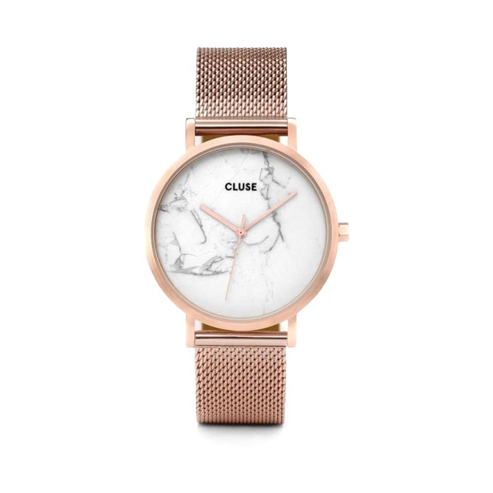 Dámske antikoro hodinky vo farbe ružového zlata s mramorovým ciferníkom Cluse La Roche Mesh