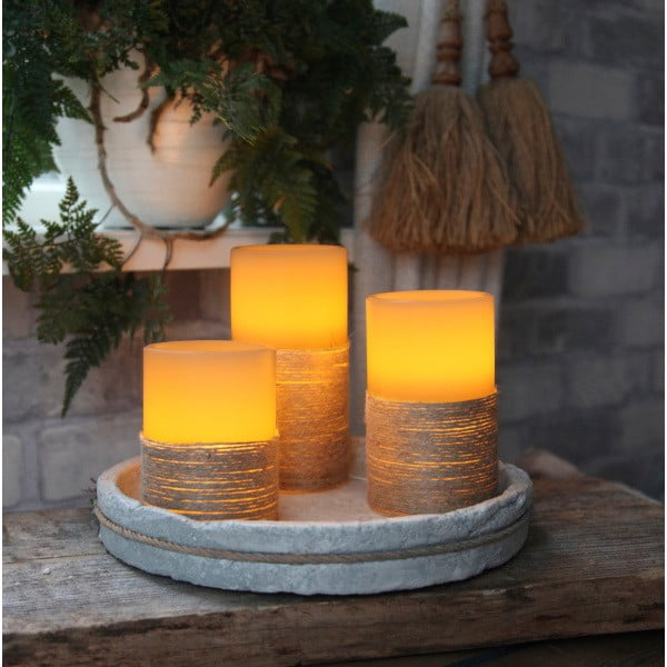 Biela LED sviečka so sisalom, 15 cm