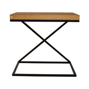 Čierny odkladací stolík s doskou z dubového dreva Take Me HOME, 50×30cm