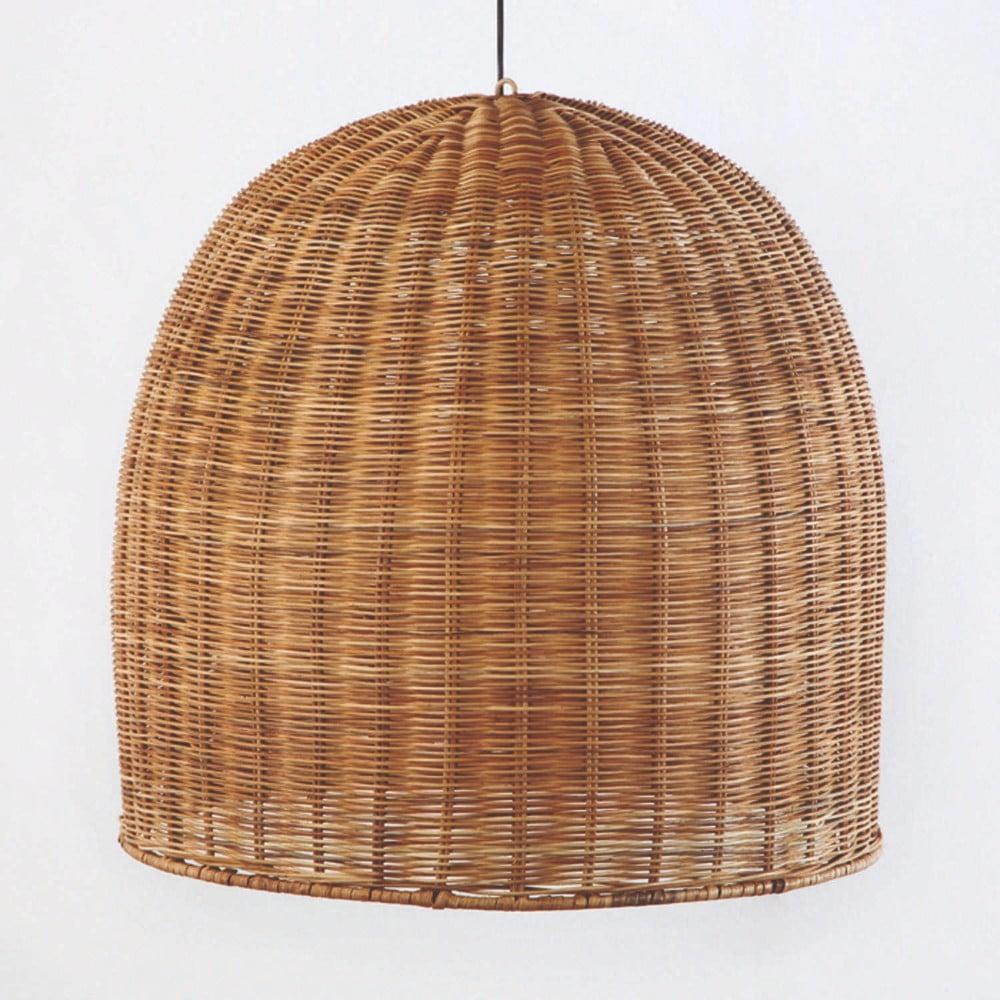 Hnedé prútené stropné svietidlo Thai Natura