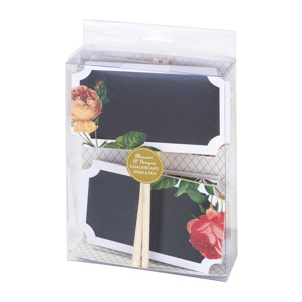 Ceduľa s tabuľou Floral, 6 ks