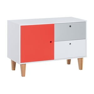 Komoda s červenými dvierkami z dubového dreva Vox Concept