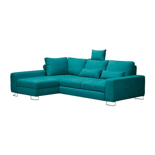 Tyrkysová rohová rozkladacia pohovka Windsor & Co Sofas, ľavý roh Alpha