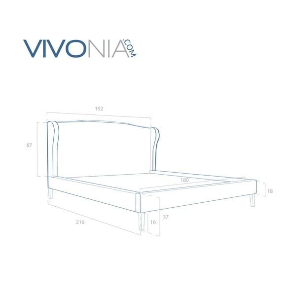 Pastelovozelená posteľ VIVONITA Windsor 180x200cm, prírodné nohy