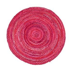 Ružový bavlnený okrúhly koberec Eco Rugs, Ø 120 cm