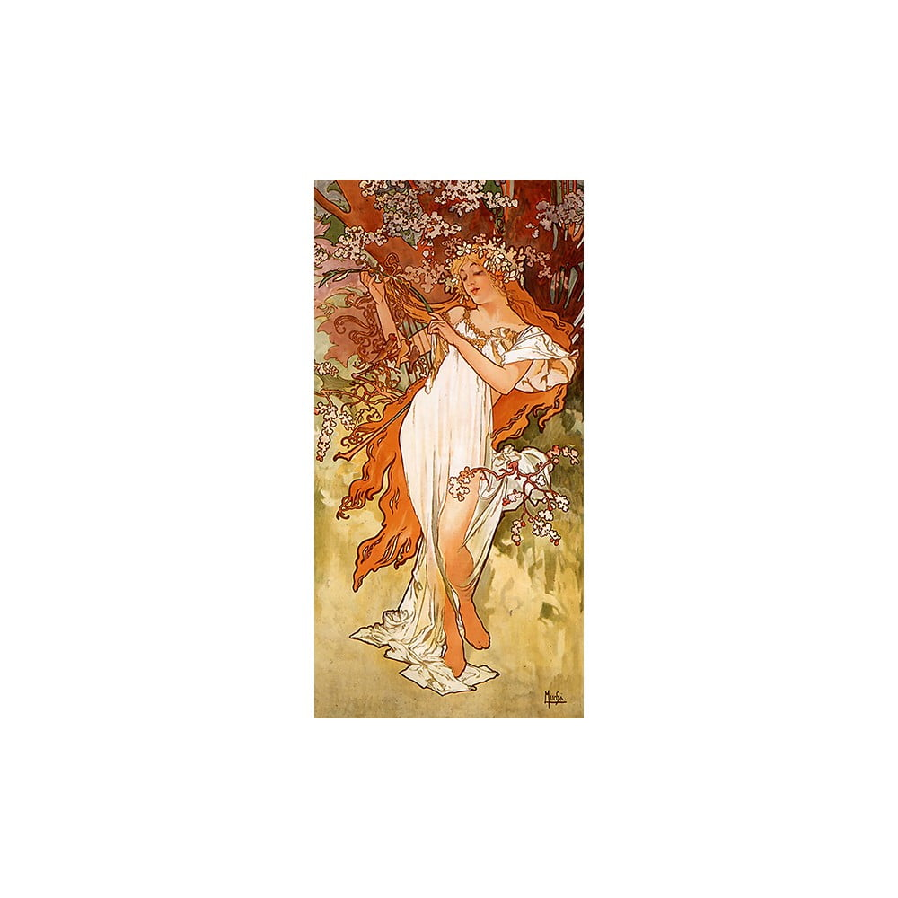 Reprodukcia obrazu Alfons Mucha - Spring, 80 x 30 cm