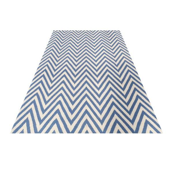 Vlnený koberec Zig Zag Light Blue, 200x140 cm