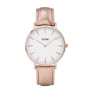 Dámske hodinky s ružovým koženým remienkom a detailmi vo farbe ružového zlata Cluse La Bohéme