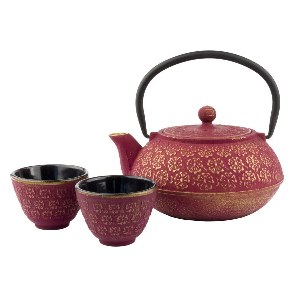 Ružovo-zlatá darčeková sada kanvice a šálok Bredemeijer Shanghai