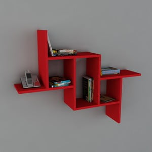 Polica Step Book Red, 22x107,2x81,8 cm