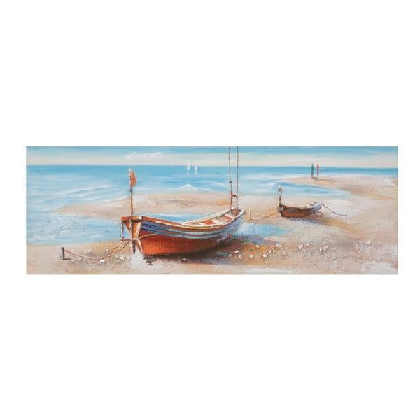 Ručne maľovaný obraz v ráme z borovicového dreva Mauro Ferretti Barca Group, 150×50 cm