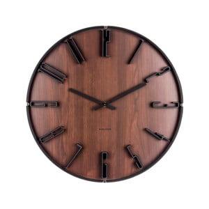Tmavohnedé nástenné hodiny Karlsson Sentient, Ø40cm