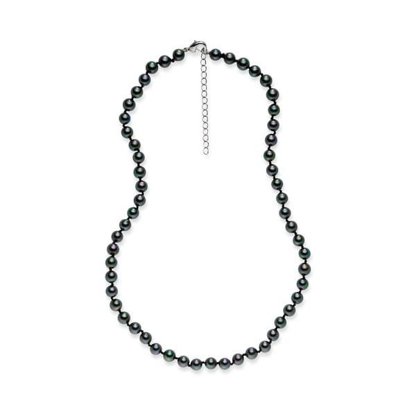 Čierny perlový náhrdelník Pearls Of London Mystic, dĺžka 42 cm
