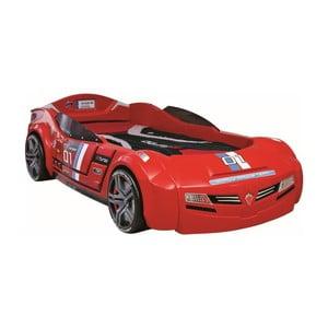 Červená detská posteľ v tvare auta Biturbo Carbed Red, 90 × 195 cm