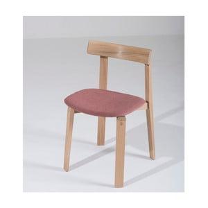 Jedálenská stolička z masívneho dubového dreva s ružovým sedadlom Gazzda Nora