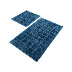Sada 2 modrých bavlnených kúpeľňových predložiek Confetti Bathmats Jean Estoril Blue