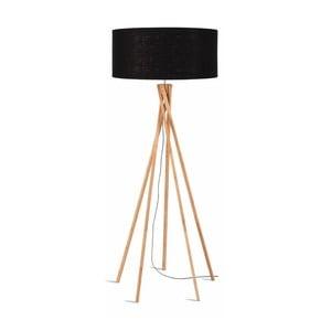 Stojacia lampa s čiernym tienidlom a konštrukciou z bambusu Good&Mojo Kilimanjaro