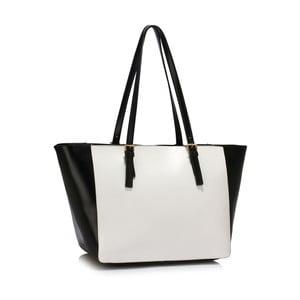 Bielo-čierna kabelka L & S Bags Dorna