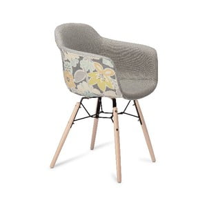 Sivá jedálenská stolička s nohami z bukového dreva Furnhouse Flame