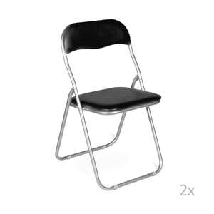 Sada 2 čiernych skladacích stoličiek Evergreen Hous Viola