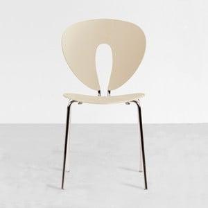 Béžová stolička s lesklými chrómovanými nohami Stua Globus