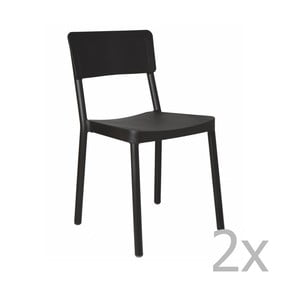 Sada 2 čiernych záhradných stoličiek Resol Lisboa