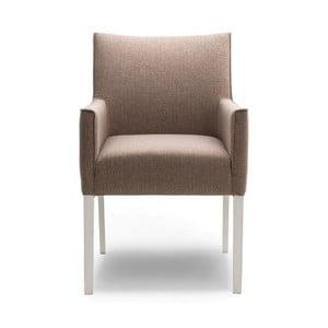 Béžová jedálenská stolička s područkami a nohami z dubového dreva Jakobsen home Ella