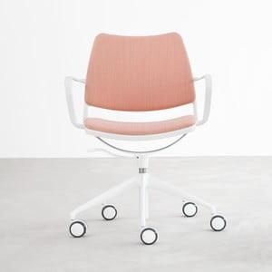 Ružová stolička na kolieskach s lakovanými bielymi nohami Stua Gas Swivel