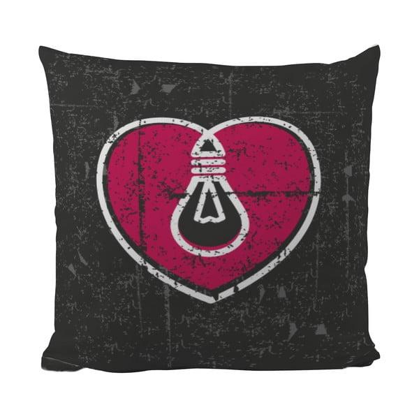 Vankúšik Black Shake Light Your Heart, 50x50 cm