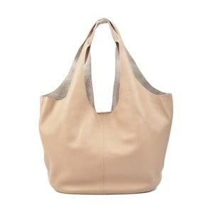 Hnedo-béžová kožená kabelka Carla Ferreri Trutna Fango
