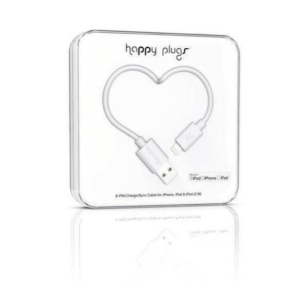 Biely Happy Plugs nabíjací a dátový kábel, 2 metre