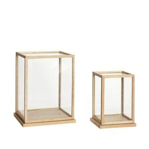 Sada 2 úložných dekoratívnych boxov s konštrukciou z dubového dreva Hübsch Oak Display Tall
