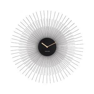 Čierne nástenné hodiny Karlsson Peony Large, ø 60 cm