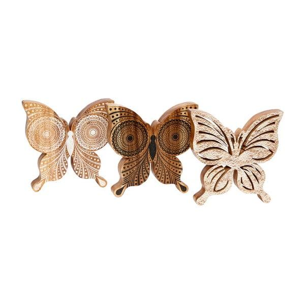 Sada 3 drevených dekoratívnych sošiek Hübsch Butterflies