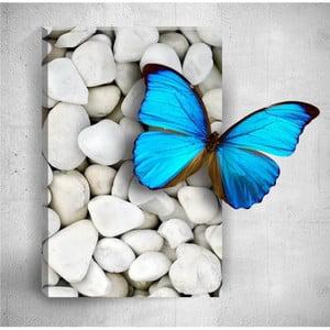 Nástenný 3D obraz Mosticx Blue Butterfly On Pebbles, 40×60 cm