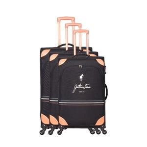 Sada 3 čiernych cestovných kufrov na kolieskách GENTLEMAN FARMER Trippy