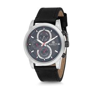 Pánske hodinky s čiernym koženým remienkom Bigotti Milano Michaels