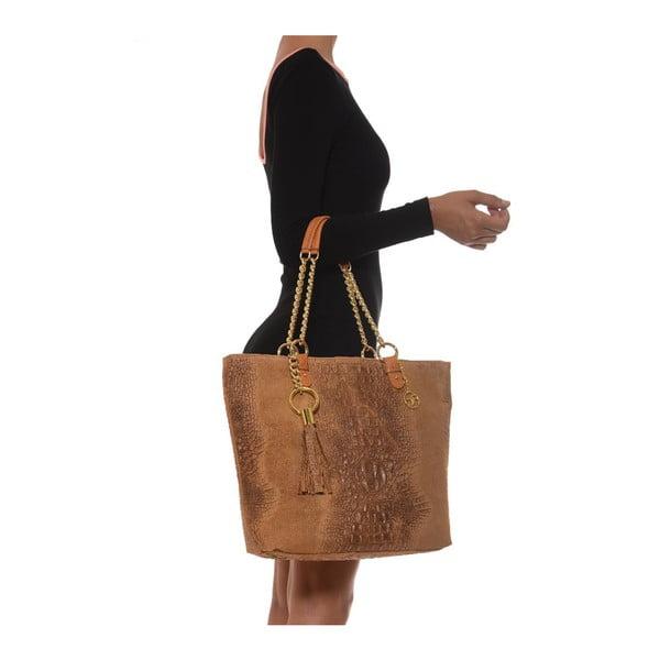Kožená kabelka Carla Ferreri 863 Cognac