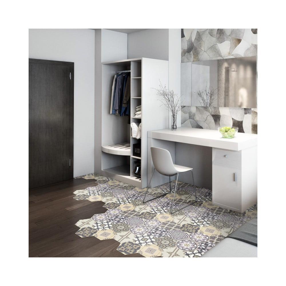 Sada 10 samolepiek na podlahu Ambiance Floor Stickers Hexagons Vita, 40 × 90 cm
