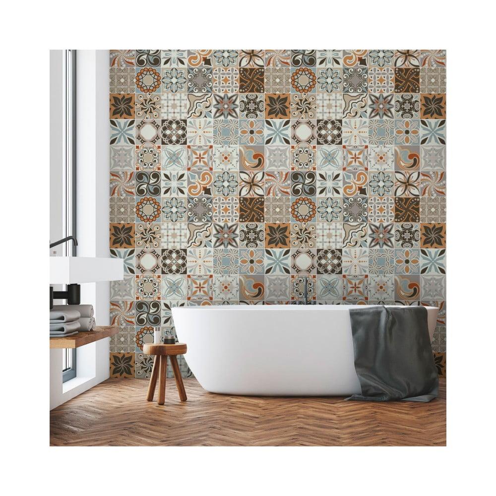 Sada 30 nástenných samolepiek Ambiance Wall Decal Cement Tiles Bali, 15 × 15 cm