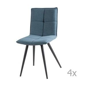 Sada 4 svetlomodrých jedálenských stoličiek sømcasa Zoe