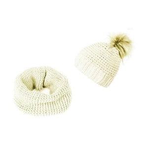 Krémová čiapka a šál Lavaii Elegant