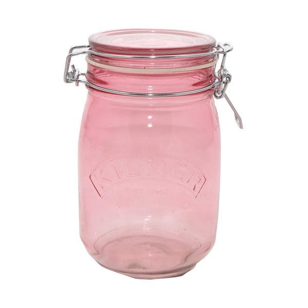 Pohár na suché potraviny s klipom Kilner, 1 l, ružová