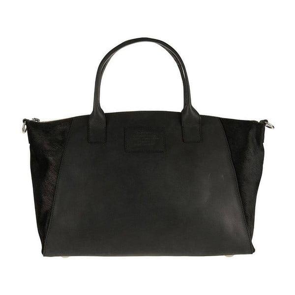 Kožená kabelka Fly Violet midi, čierna/hairon