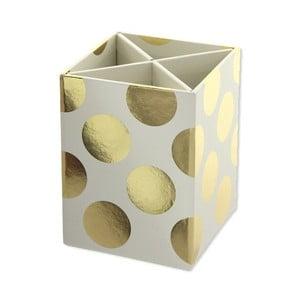 Stojan na písacie potreby Go Stationery Gold Polka Cream