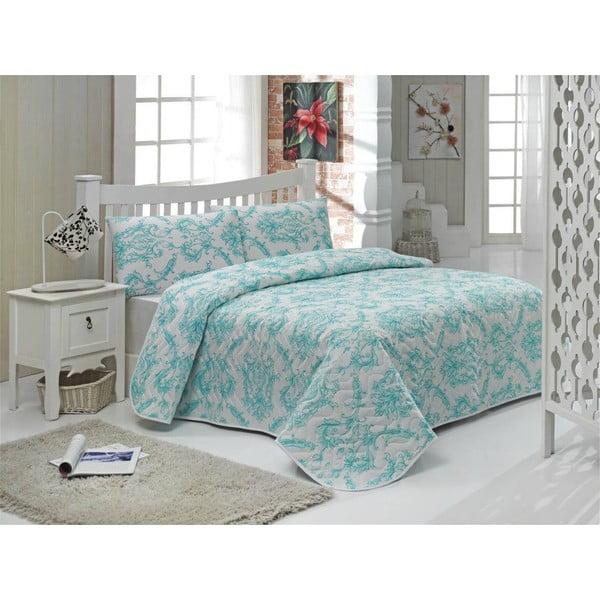 Sada prešívanej prikrývky na posteľ a dvoch vankúšov Double 466, 200x220 cm