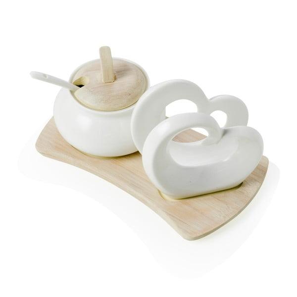 Sada cukorničky a stojana na servítky z porcelánu a bambusu Brandani Double Heart