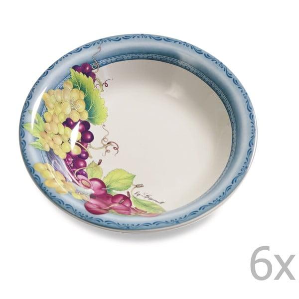 Sada 6 polievkových tanierov Blue Garden, 21 cm