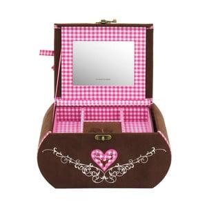 Šperkovnica Bagvaria Brown/Pink, 22x14,5x13,5 cm